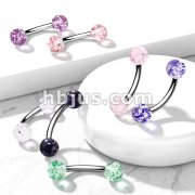 316L Surgical Steel 16GA 5/16 Eyebrow Curve w/ Acrylic Color Ultra Glitter Ball 140pcs (20pc x 7 colors)