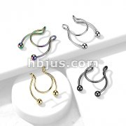 316L Surgical Steel Fake Clip On Horseshoe for Septum, Nipple and Ear
