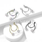 316L Surgical Steel Fake Clip on Horseshoe with Forward Facing Prong Set CZ for Septum, Nipple and Ear