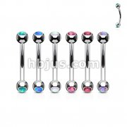 60 Pcs Opal Set 316L Surgical Steel Curved Barbells for Eyebrow and Ear Cartialge Bulk Pack (10 pcs x 6 Colors)