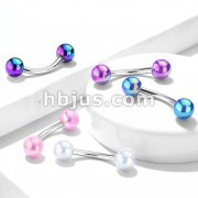 Metallic AB Coating Balls Over 316L Surgical Steel Curved Barbells for Eyebrow, Daith and more