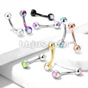 Illuminating Stone Set on Both Sides 316L Surgical Steel Curved Barbells, Eyebrow Rings