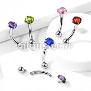 Prong Set Zircon Cabochon Stone Internally Threaded 316L Surgical Steel Curved Barbells, Eyebrow Rings