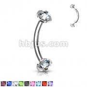Prong Set Gem Internally Threaded316L Surgical Steel Eyebrow Curve Ring