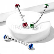 316L Surgical Steel Curved Barbell with Snake Eye Inlaid Ball Ends for Snake Eye Piercing and More