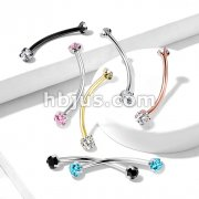 316L Surgical Steel Curved Barbell with Prong Set Round CZ Ends for Snake Eye Piercings and More