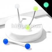 316L Surgical Steel Curved Barbell with Glow in the Dark Ball Ends for Snake Eye Piercing and More