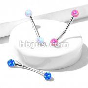 Opal Ball Ends 316L Surgical Steel Curved Barbell for Snake Eye Piercings and More