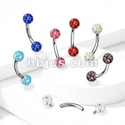 Internally Threaded 316L Surgical Steel Curved Eyebrow Barbells with Epoxy Covered Crystal Paved Ball