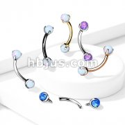 Claw Set Opals on Internally Threaded 316L Surgical Steel Eyebrow Barbells
