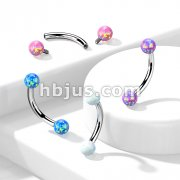 Synthetic Opal 316L Surgical Steel Internally Threaded Curved Eyebrow Barbell