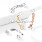 Prong Set Star CZ Ends Internally Threaded 316L Surgical Steel Curved Barbells, Eyebrow Rings