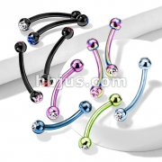 2-Press Fit Gem Balls Titanium IP Over 316L Surgical Stainless Steel curved barbell eye brow