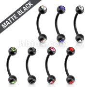 Matte Black IP with CZ 316L Surgical Steel Eyebrow Curve Barbell