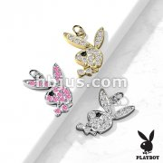 CZ Paved Playboy Bunny Charm for Studs, Hoops and Mor