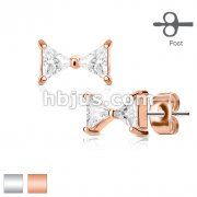 Pair of Prong Set Two Triangle CZ Ribbon 316L Surgical Steel Post Ear Stud Rings