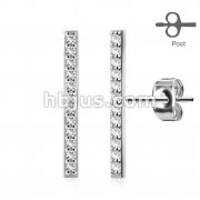 Pair of Micro CZ Paved Long Bar 316L Surgical Steel Post Earring Studs