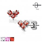 Pair of 3 Square CZ Heart 316L Surgical Steel Post Earring Studs