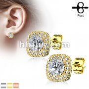 Pair of Large Round CZ Centered with CZ Paved Outlined Square 316L Surgical Steel Post Earring Studs