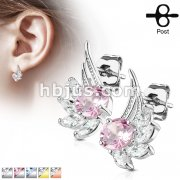 Pair of CZ Angel Wing 316L Surgical Steel Post Earring Studs