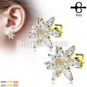 Pair of Double Tiered CZ Flower 316L Surgical Steel Post Earring Studs