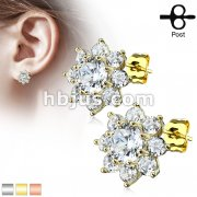 Pair of Round CZ Flower 316L Surgical Steel Post Earring Studs