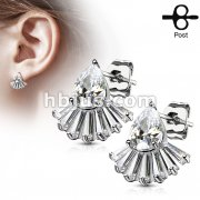 Pair of Tear Drop CZ with Tapered Baguette CZ Fan 316L Surgical Steel Post Earring Studs
