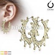Pair of Heart Filigree Large Hoop Earrings
