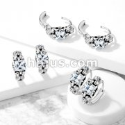 Pair of Antique Silver Plated Prong Set Square CZ 316L Stainless Steel Hinge Action Seamless Hoop Earrings