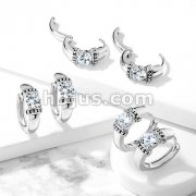 Pair of Antique Silver Plated Prong Set Round CZ 316L Stainless Steel Hinge Action Seamless Hoop Earrings