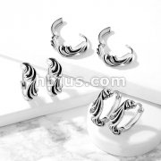 Pair of Antique Silver Plated Waves 316L Stainless Steel Hinge Action Seamless Hoop Earrings