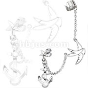 Star Stud Chain Earring with Swallow and Anchor Dangles with End Clip 316L Surgical Stainless Steel