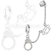 Hoop Chain Earring with Brass Knuckle and Gemmed Cuffs Dangles with End Clip 316L Surgical Stainless Steel