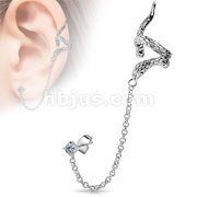Snake Design with Clear CZ Stud Chain Earring Rhodium Plated Brass Ear Cuff