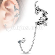 Dragon Design with Clear CZ Stud Chain Earring Rhodium Plated Brass Ear Cuff