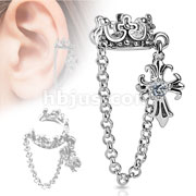 Crown with Chain and Clear CZ Stud Cross Dangle Rhodium Plated Brass Non-Piercing Ear Cuff