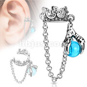 Crown with Chain and Dragon Ball Dangle Rhodium Plated Brass Non-Piercing Ear Cuff