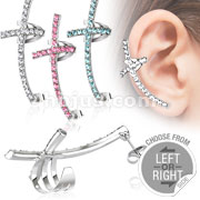 Cross Gem Paved Ear Cuff 316L Surgical Steel