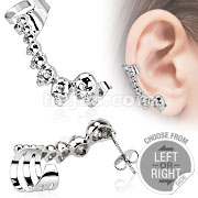 316L Stainless Steel Cartilage Ear Cuff with Mini Cast Skulls