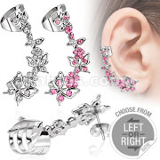 316L Surgical Steel Butterflies with  Flower CZ Ear Cuff