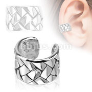 Weaving Pattern Brass Non Piercing Ear Cuff