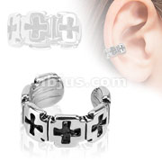 Iron Cross Brass Non Piercing Ear Cuff