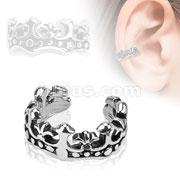 Fleur De Lis Brass Non Piercing Ear Cuff