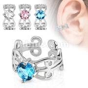 Carved Swirls with Center CZ Rhodium Plated Brass Non Piercing Ear Cuff