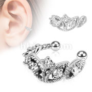 Beads Trimmed Clear CZ Rhodium Plated Brass Non Piercing Ear Cuff
