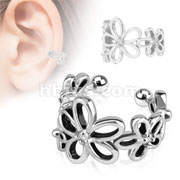 Flower with Clear CZ Rhodium Plated Brass Non Piercing Ear Cuff
