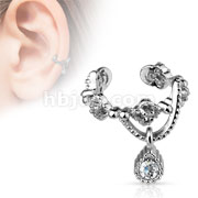 Gorgeous Chain with Gem Dangle Rhodium Plated Brass Non-Piercing Ear Cuff