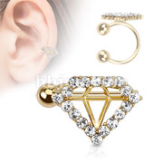 Diamond Style Paved Gem Gold IP Brass Non-Piercing Ear Cuff