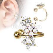 Flower Gold IP Brass Non Piercing Ear Cuff
