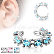 Cubic Surrounded Rhodium Plated Brass Non Piercing Ear Cuff